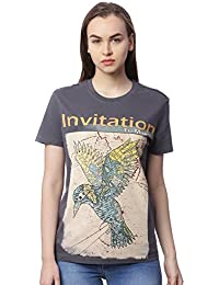 Wolfpack Invitation to Migrate Dark Grey Round Neck Short Sleeve 100% Cotton Girls/Womens Tshirt for Explorer & Adventurous Folk
