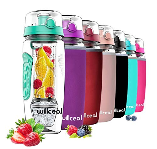 willceal Wasserflasche Mit Fruchteinsatz 945 ml Durable mit abnehmbarem Eisgel-Ball, groß - BPA-freies Tritan, Flip-Deckel, dichtes Design - Sport, Camping (Als)