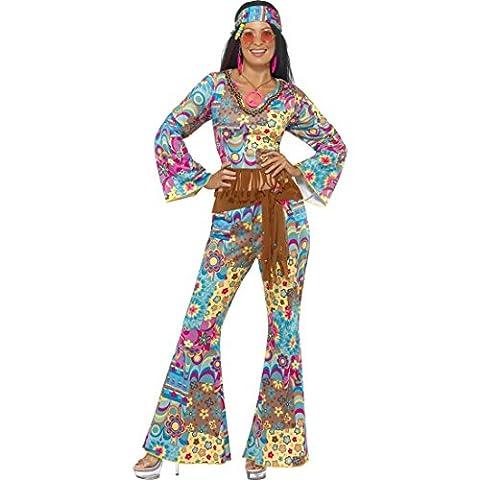 Hippie Kostüm Damen 70er Jahre Outfit M 40/42 Hippiekostüm Flower Power Damenkostüm Mottoparty Verkleidung Blumen Faschingskostüm