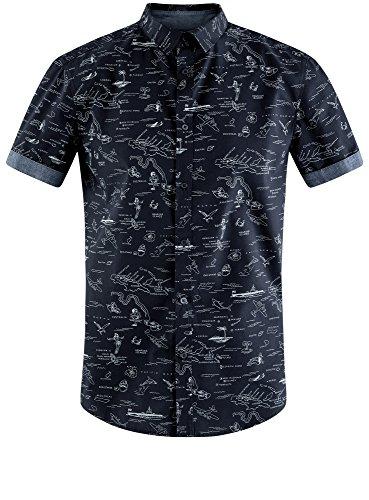 oodji Ultra Herren Bedrucktes Baumwollhemd Blau (7910G)