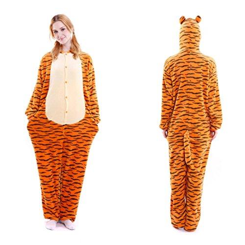 Baby Kostüme Cute Monkey (Upxiang Flanell Couple Pyjamas, Pyjama Overall Karikatur Tierneuheit Weihnachtspyjama Cosplay Pyjamas Jumpsuit Kostüme Schlafanzug Für Kinder Erwachsene (S-147~157CM, Tiger -)