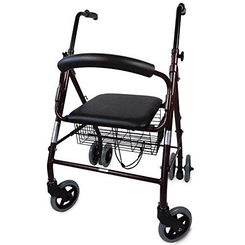 Andador de aluminio modelo Prado | Marca Mobiclinic | Caminador con frenos por presión | 2 ruedas delanteras giratorias y 4 traseras | Elegante diseño cromado | Cómodo asiento acolchado y cesta de la compra | TOP VENTAS