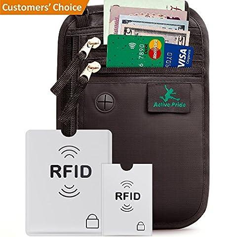 Pochette Tour de Cou Voyage Sécurisé - Portefeuille Passeport Organisateur et protection RFID - Étuis de Protection pour Cartes bancaires et
