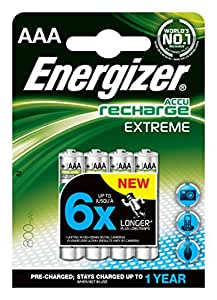 Energizer Battery Rechargeable Advanced NiMH Capacity 800 mAh LR03 1.2V AAA Ref 627948 [Pack of 4]