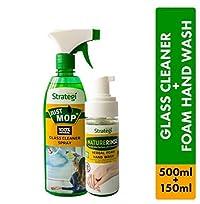 Herbal Strategi Glass Cleaner Spray 500ml, Foam Handwash 150ml (Pack of 2)
