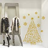 wall art NT0228 Albero Merry Christmas - 60x75 cm - oro - Vetrofanie natalizie Decorazioni per Natale adesivi natale