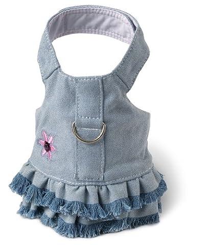 Doggles Harness Dress Teacup Blue Jean Fringe - HADJTC04