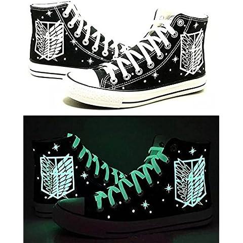 Bromeo Attack on Titan Unisexo Hola-Top Zapatillas de lona Trainers Zapatos Luminoso Shoes