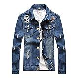 Herren Bikerjacke Jeansjacke Denim Übergangsjacke Patches Langarm Slim fit Hemden Jacke S 002PD