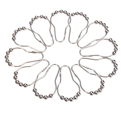 Doitsa 12 Stück Kleiderhaken aus Edelstahl Badezimmerhaken Türhaken Multifunktions Haken Küchenhaken Gardinenstange zum Aufhängen Kugelring 7 * 4CM Silber (Handtuch Haken Für Gardinenstange)