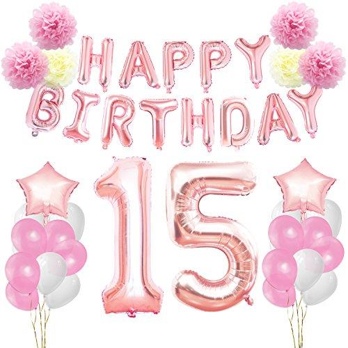 KUNGYO Decoraciones de Feliz Cumpleaños 15 Oro Rosa Happy Birthday Bandera Gigante Número 15 y Estrella de Helio Globos Cintas Flores de Papel Pom Globos de látex