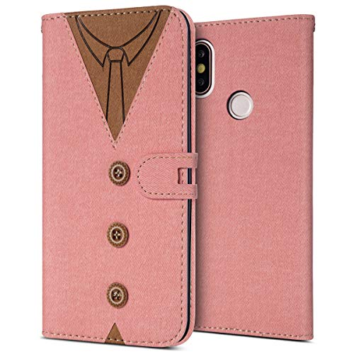 MoreChioce kompatibel mit Xiaomi MI 6X Hülle,kompatibel mit Xiaomi 6X Leder Flip Case, Fashion Rosa Nähen Krawatte Stoff Schutzhülle Klapptasche Brieftasche Magnetverschluß mit Kartenfach,EINWEG