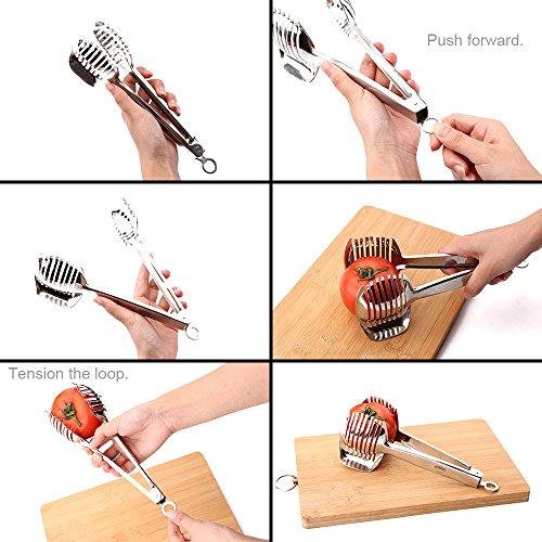 Uten Edelstahl Tomatenschneider Kartoffelschneider mit Griff, Zwiebel-Halter und Schneidemaschine von Gurken, Karotten und sogar hartgekochte Eier - 3