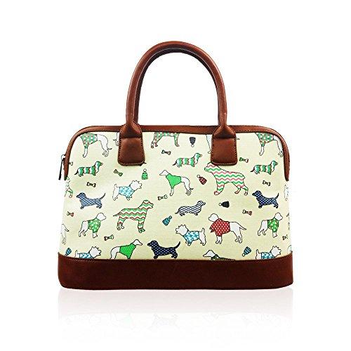 VENDITA Dogs & Pups, design di Cath Kidston, borsetta estiva con chiusura a cerniera, rivestimento in tela impermeabile. Beige