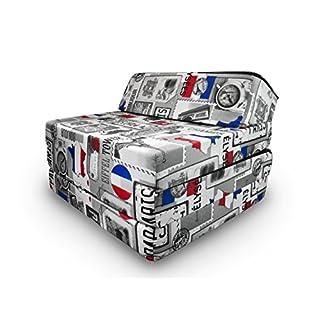 Matelas lit fauteuil futon pliable pliant choix des couleurs - longueur 200 cm (PARIS)