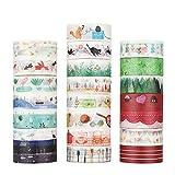 molshine 22SETS Dekorative japanische Maskierung Adhesive Sticky Papier Washi Tape–Funny Day Serie Collection, (15mm x 7m, 1,5cm X 7,6Hof) für Zeitschriften, tägliche Planer DIY