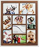 1232DW9 Gallery Dark Walnut Rubberwood Seven 4x6in/A6 (10x15cm) & Two 5x7in (13x18cm) Beautifully Crafted Multi Aperture Photo Frame Wall Hang Only