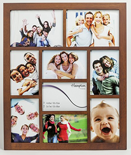 1232DW9 Gallery Dark Walnut Rubberwood Seven 4x6in/A6 (10x15cm) & Two 5x7in (13x18cm) Beautifully Crafted Multi Aperture Photo Frame Wall Hang Only by Hampton Frames