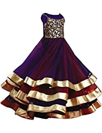 d3c2e6832e White Button Designer Girl's Violet N Red Net 3 Layer Flared Embroidered  Readymade Kids Gown Dress
