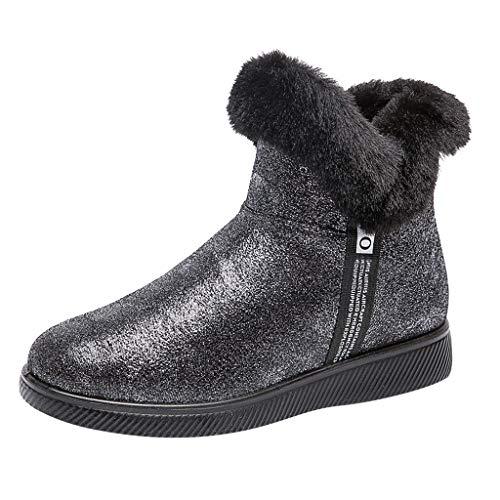 COZOCO Damen Plüsch Reißverschluss Stiefeletten Plus Samt Warme Winterstiefel Runde Kappe Keile Schneeschuhe Flache Freizeit Kurze Stiefel(Schwarz,40 EU)