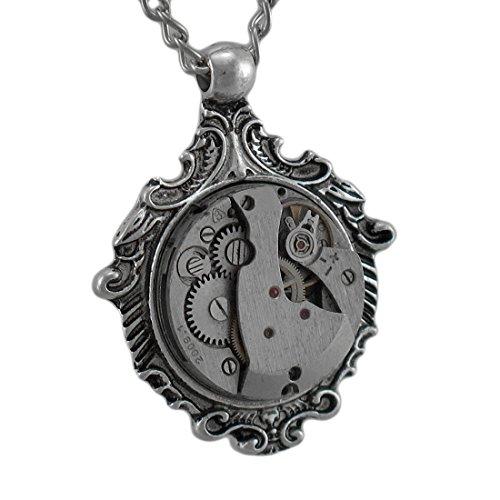 Steampunk mechanische Uhr Bewegung Silvertone Anhänger Halskette (Kostüme Futuristische)