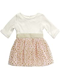 Youngland Baby Girls Knit to Tutu Mesh Dress with Polka Dot Print