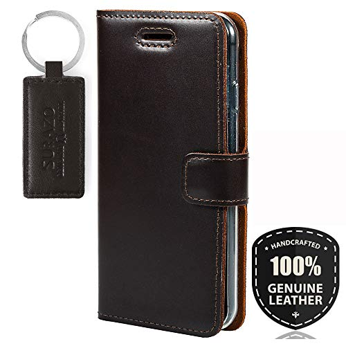 SURAZO Premium Vintage Ledertasche Schutzhülle TV Wallet Case aus Echtesleder Prestige Farbe Braun für Microsoft Lumia 950 XL