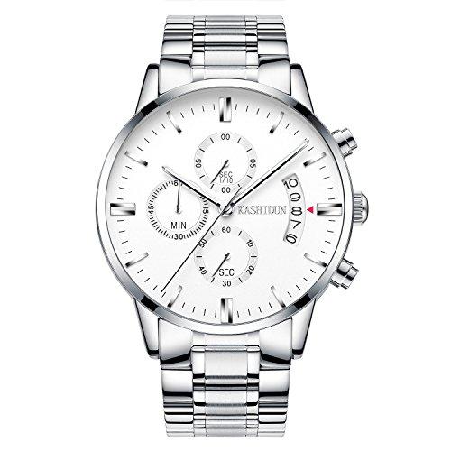 Kashidun Herren Sports Fan Uhren Casual Quarz Wasserdicht Chronograph Datum Stahl watches-white. tl-ybg