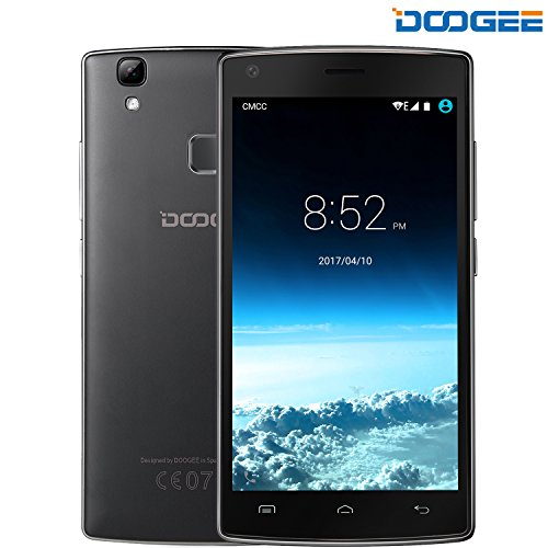 Móviles y Smartphones Libres, DOOGEE X5 MAX TeléfonoMóvilLibreBaratos (MTK6580 Quad Core, 5.0 Pantalla HD LCD, 8GB ROM, 8MP Cámaras Duales, Huella Dactilar, Gesto Inteligente, Android 6.0, Dual SIM) - Negro