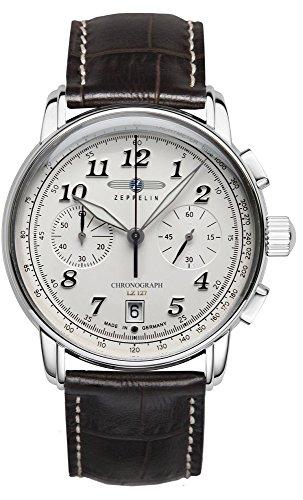 Zeppelin 8674-1 LZ127 - Reloj de pulsera para hombre (acero inoxidable, esfera blanca)