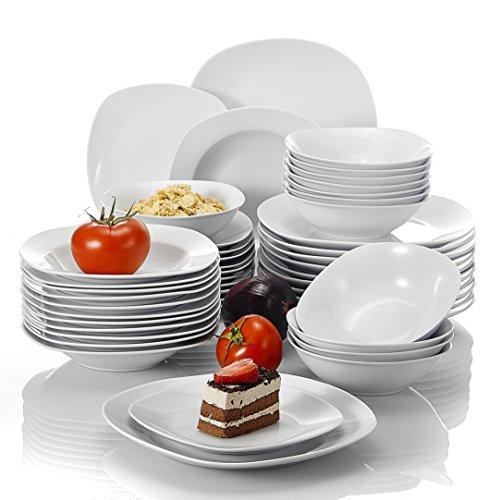 MALACASA, Série Elisa, 48pcs Services de Table Porcelaine, 12 Assiettes Plates, 12 Assiettes à Dessert, 12 Assiettes à Soupe,12 Bols à céréales pour 12 Personnes