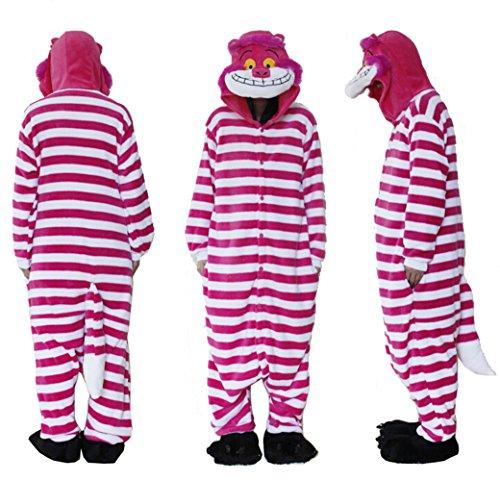 eece Flanell Pyjamas Einteiler/Pyjama Cheshire Cat Unisex Einteiler Cosplay Kostüm Hoodies/Schlafanzug/Sleep Wear One Tier-Schlafanzüge Medium Blau - blau (Cheshire Cat Fancy Dress Kostüm)