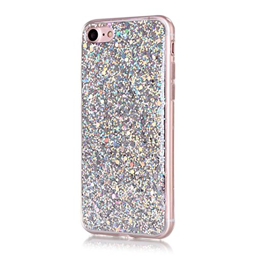 OuDu iPhone 7 PLUS Hülle, Glitzern Funkeln Hülle TPU Silicone Etui für iPhone 7 PLUS Bling Glitter Case Sparkle Style Cover Soft Lightweight Bumper Flexible Schlanke Schale Glatte Leichte Tasche Ultra Silber