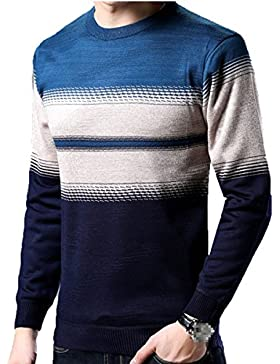 Suéter De Punto Redondo De La Raya De La Moda Para Hombre Suéter De Jersey De Punto Grueso Caliente Top Multicolor