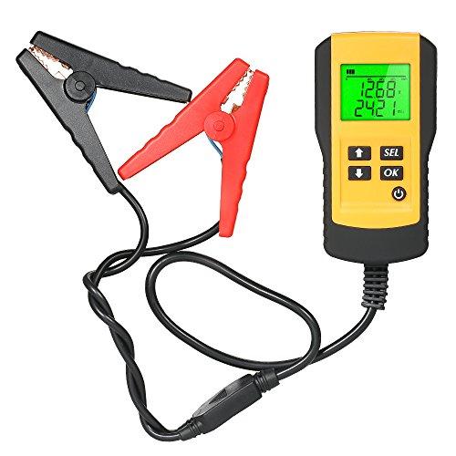 KKmoon 12V LCD Digital Autobatterie Tester mit Hintergrundbeleuchtung für Spannung Widerstand CCA Batteriestatus Batteriemessgeräte Analysator Automobil Fahrzeug KFZ Batterie Diagnosetester Werkzeug