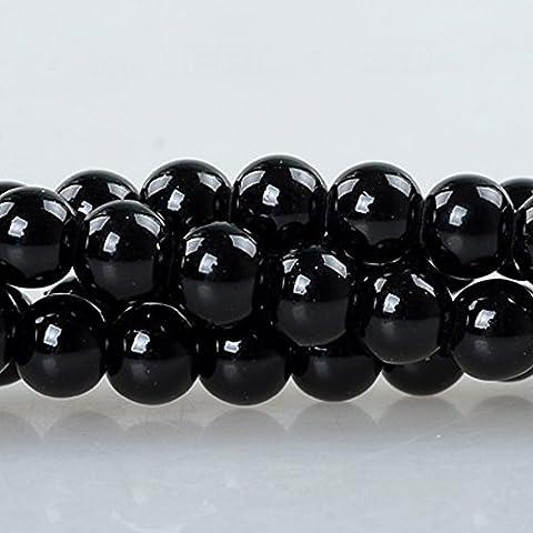 Rubyca 2cordes rond Revêtement opaque Perles de verre pour fabrication de bijoux perles DIY, Verre, noir, 08 MM