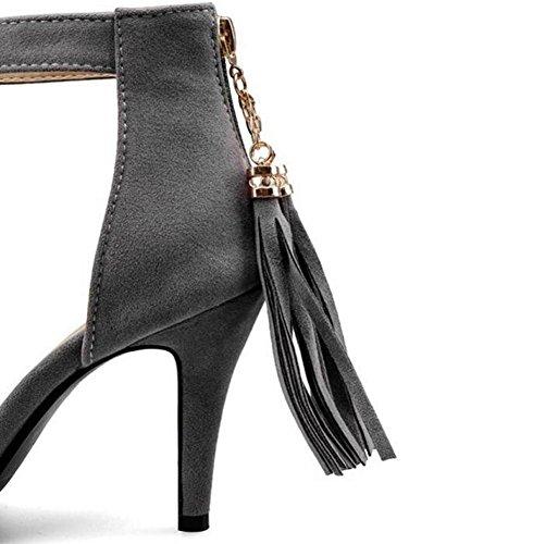 GLTER Dame Pumps Quaste Open-Toed High-Heels-Sandalen Fine Suede Schuhe Court Schuhe Grey