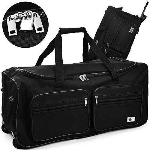 Deuba® Reisetasche ✔mit Trolleyfunktion ✔Rollen mit Kugellager ✔Teleskopgriff ✔abschließbar 85L in Schwarz Sporttasche Reisetrolley Gepäcktasche (Trolley-reise-tasche)