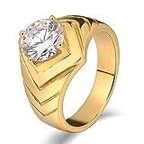 Aidsaer Goldring Vintage Ring Männer V Zirkonia Hochglanzpoliert Runde Breite 10 mm Ringgröße 62 (19.7) Trauung,Mein Herz Schlägt Deinen Takt, Ring Für Herr
