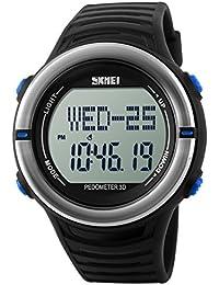 Panegy - Reloj Digital Deportivo con Múltiples Funciones Resistente al Agua con Podómetro y Monitor de Frecuencia de Corazón para Hombres-Color Azul