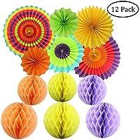 Partido Decoración colorida fiesta Papel Ventiladores pañuelos de papel bolas para colgar decoración para cumpleaños boda Carnaval bebé ducha Home Party Supplies regalos (12pcs)