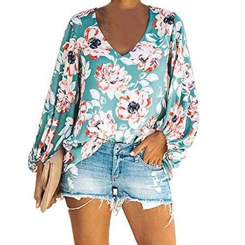3/4 Puff Ärmel Pullover (B-commerce Frauen Lose Top Casual Puff Langarm Plus Size Bluse V-Ausschnitt Mode Gedruckt Elegante Damen Sommer Shirts Pullover)