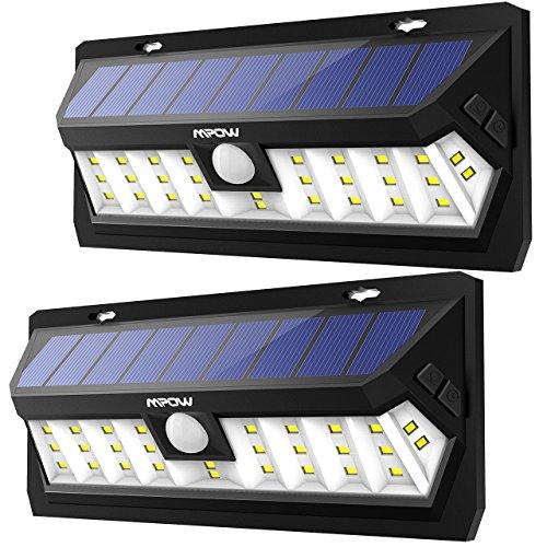 Mpow 2 Pack 30 LED Lampe Solaire Extérieur Etanche IP65 Panneau Solaire Haute-Efficace Détecteur de Mouvement Eclairage Extérieur Grand Angle Luminaire Extérieur pour Jardin, Cour, Allée, Garage