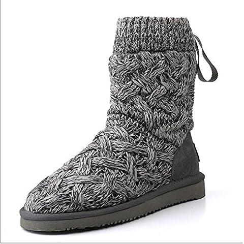 inverno antiscivolo pizzo stivali di pelle di