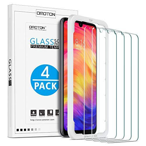 OMOTON [4 Stück] Panzerglas Schutzfolie für Xiaomi Redmi Note 7/ Note 7 Pro,mit Positionierhilfe, Anti- Kratzer, Bläschenfrei,9H Härte, HD-Klar, [2.5D R&e Kante]