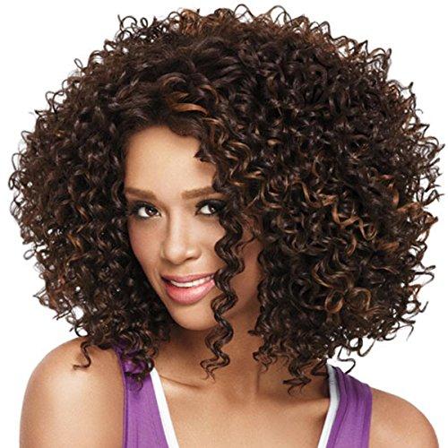 SHKY Art und Weise tiefe lockige Haar-Perücken Schöne kurze Perücke-Brown-Perücke für Frauen-natürliche Mischungs-Farbe Kurzes Haar , a (Netzwerke Box Brown)