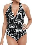 Bettydom Femme Maillot de Bain Une Pièce Bikini Push Up Swimwear M-4XL Halterneck Tête de Mort