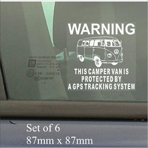 6 x VW Camper Van Fake, Dummy Attrappe GPS-Ortungen System Gerät Einheit Fenster-Bus Aufkleber Alarm Sicherheit Schilder Warnung Vinyl, selbstklebend (System Warnung Alarm)