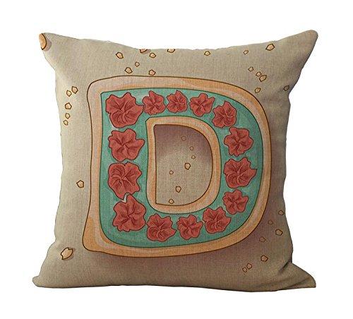 Ruikey Alphabet A Kissen quadratisch Baumwolle Leinen Sofa Taille Überwurf Kissen für Home Dekoration, 45× 45cm, Baumwoll-Leinen, D, 45 cm*45 cm -