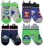 Ragazzi calzini, punte senza cuciture, presa antiscivolo, calzini facili da tirare (1-3 anni, Monster Truck-Cars)